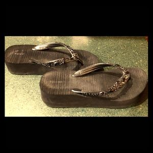 Black Flip Flops with Beaded Straps!
